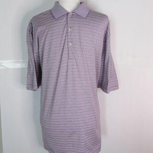 Peter Millar Lavender/Black Stripe Cotton Polo SZL